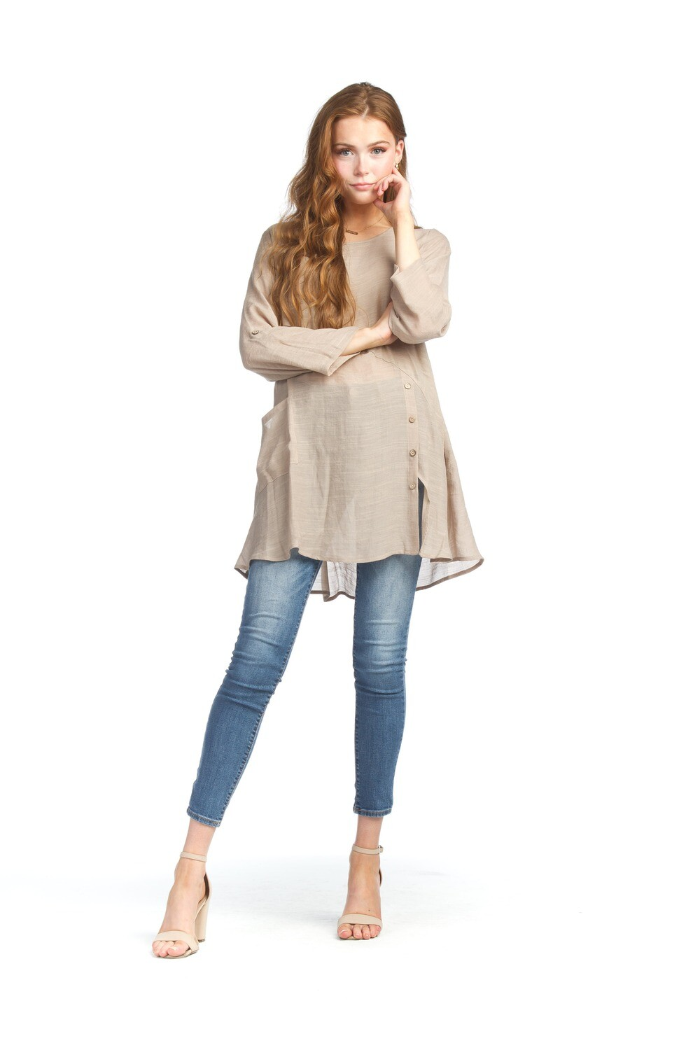 Papillon Crinkle Tunic with Button Detail