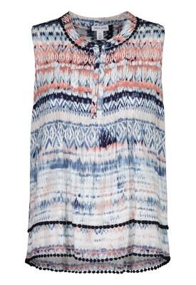 Tribal Sleeveless Blouse with Tuck Pleats