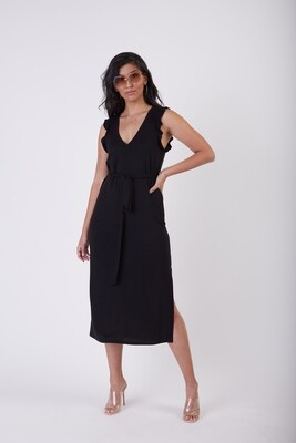 Black Tape Ruffle Detail Slub Knit Maxi Dress