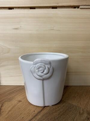 """Glazed Dolomite Pot with Rose 4.75""""Dx4.37H"""""""