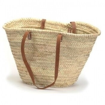 Shoulder Leather Strap Straw Market Bag