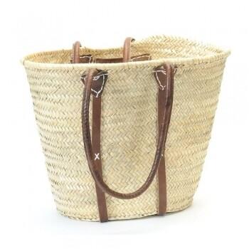 Shoulder Leather Strap Straw Shopper Bag