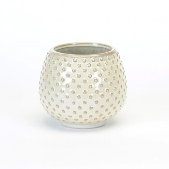 Rounded White Nubby  Texture Pot