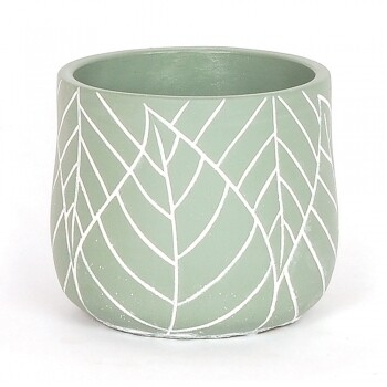 White Leaf Embossed Green Pot