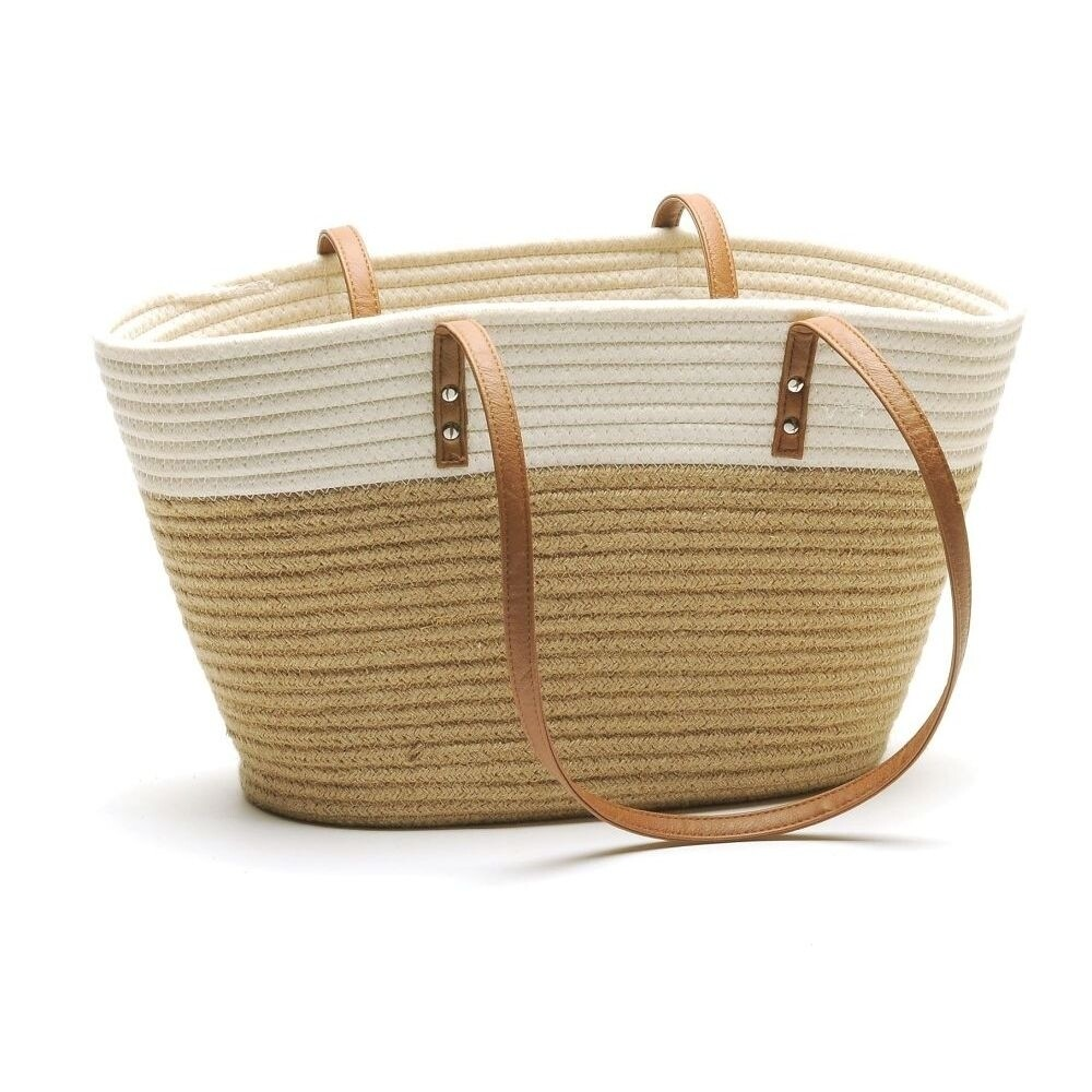 Jute and White Market Bag