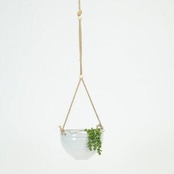 White Bowl Hanging Planter