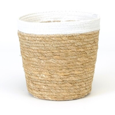 Round Straw Pot White Rim