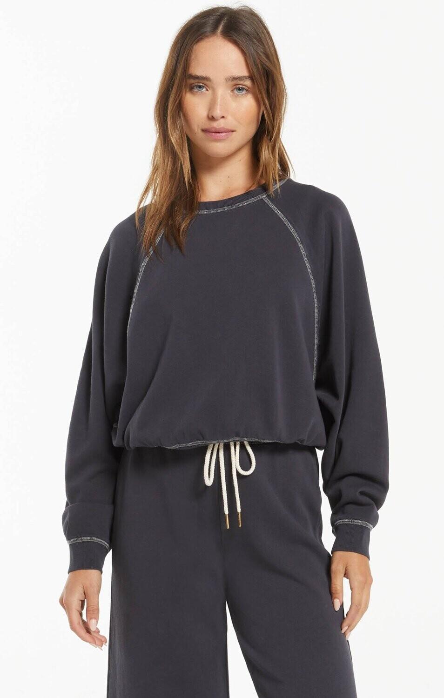 Z Supply Ami Organic Sweatshirt Washed Black