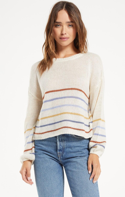 Z Supply Solange Stripe Sweater Pebble