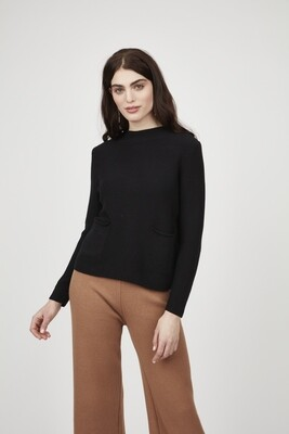 Pistache Zippered Back Sweater with Patch Pockets