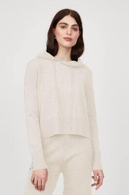 Pistache Cropped Knit Hoodie Ivory