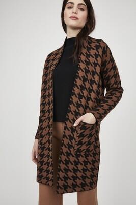 Pistache Houndstooth Knit Coat
