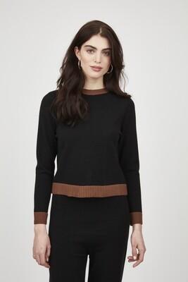 Pistache Knit Sweater Two Tone Trim