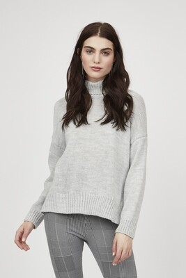 Pistache High Low Turtle Neck Sweater Pearl Grey