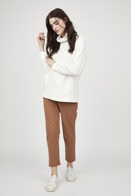 Pistache Polar Fleece High Neck Sweatshirt Cream