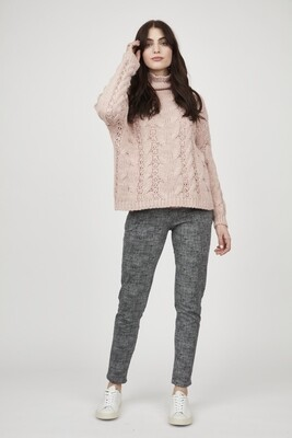 Pistache Cable Knit Funnel Neck Sweater Pink