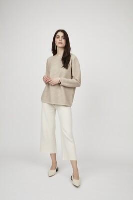 Pistache Cropped Knit Pant Ivory
