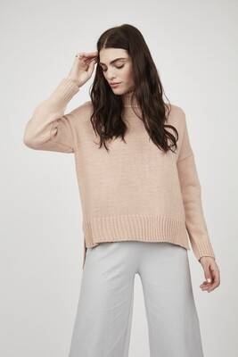 Pistache High Low Turtle Neck Sweater Pink