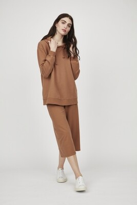 Pistache Hooded Terry Cotton Sweater Toffee