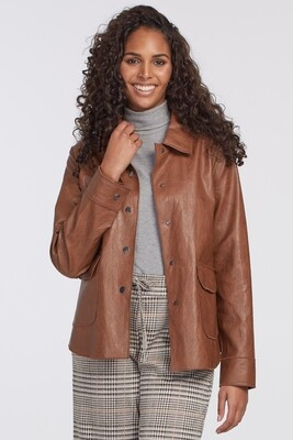 Tribal Faux Leather Button Down Jacket