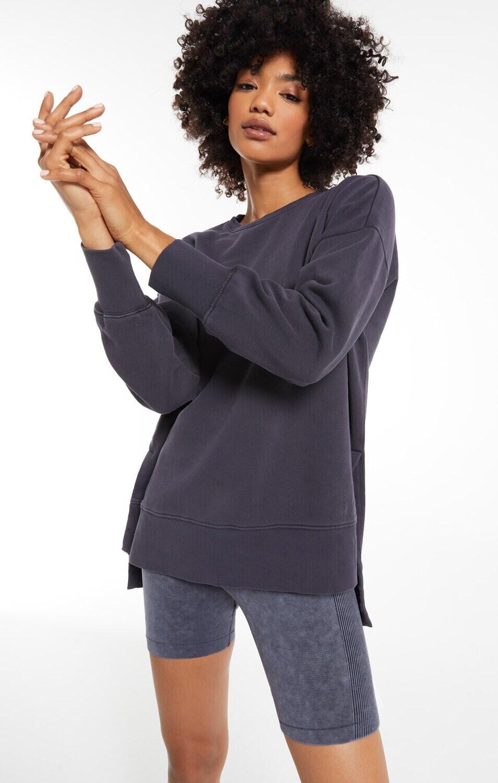 Z Supply Layer Up Sweatshirt Washed Black