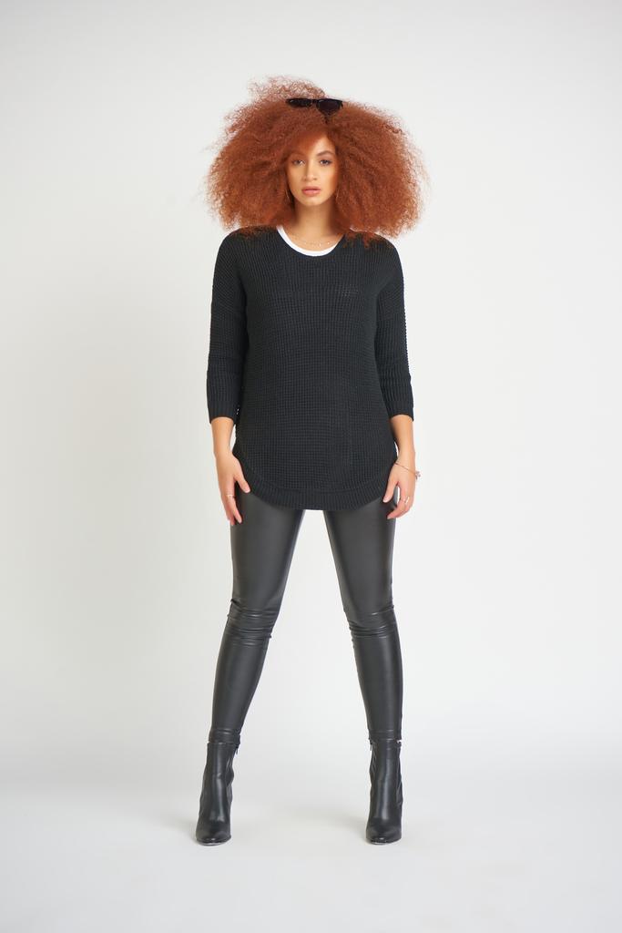 Dex Round Hem Textured Sweater Black