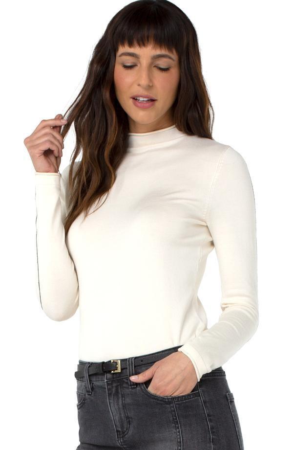 Liverpool Mock Roll Neck Sweater Winter White