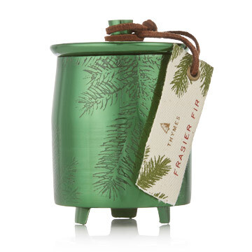 Thymes Frasier Fir Green Metal Tin Candle Small
