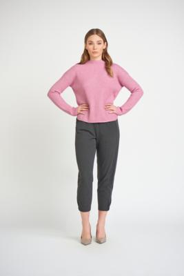 Black Tape Mock Neck Ribbed Sweater Pink