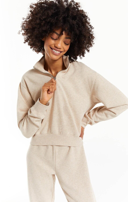 Z Supply Half Zip Sweatshirt Heather Latte