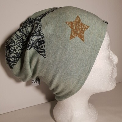 BEANIE I Jersey Mütze, Print Stars Black and Brown