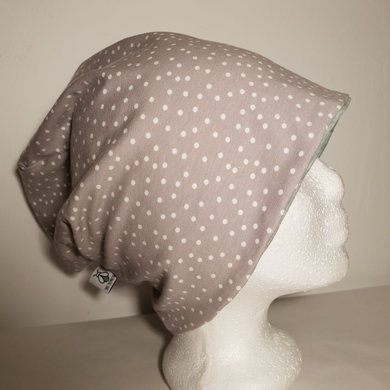 BEANIE I Jersey Mütze, Print Grey Dots