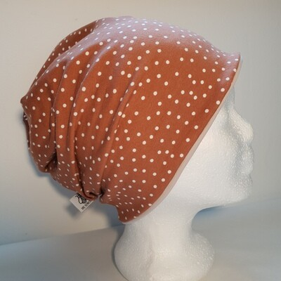 BEANIE I Jersey Mütze, Print Brown Dots