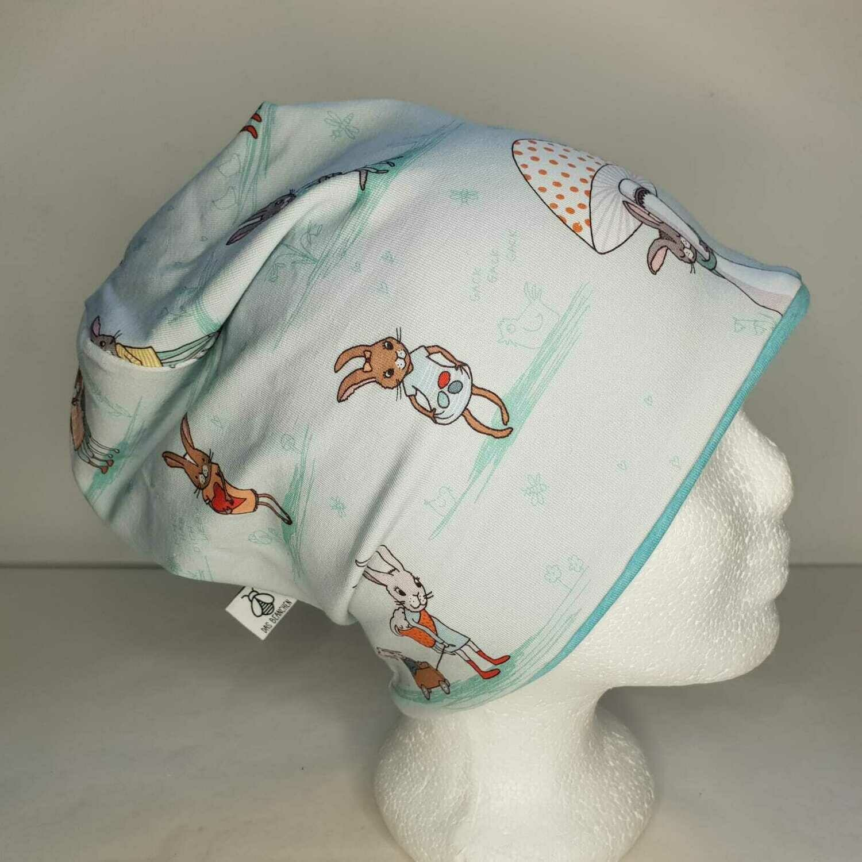 BEANIE I Jersey Mütze, Häschen blau