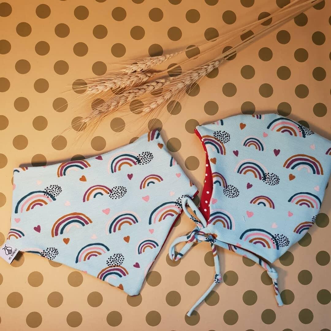 SET I Jersey Baby Mütze und Dreieckstuch, Rainbow