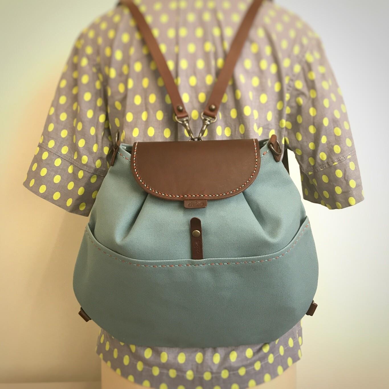 ぷっくりキャンバス製リュック・バッグ (インナーバッグ付き・手縫い)