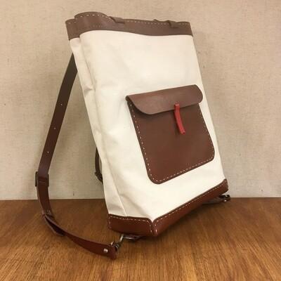 タテ型リュック・トート(帆布+革)