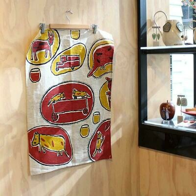 Linen Tea Towel (Red Dogs)