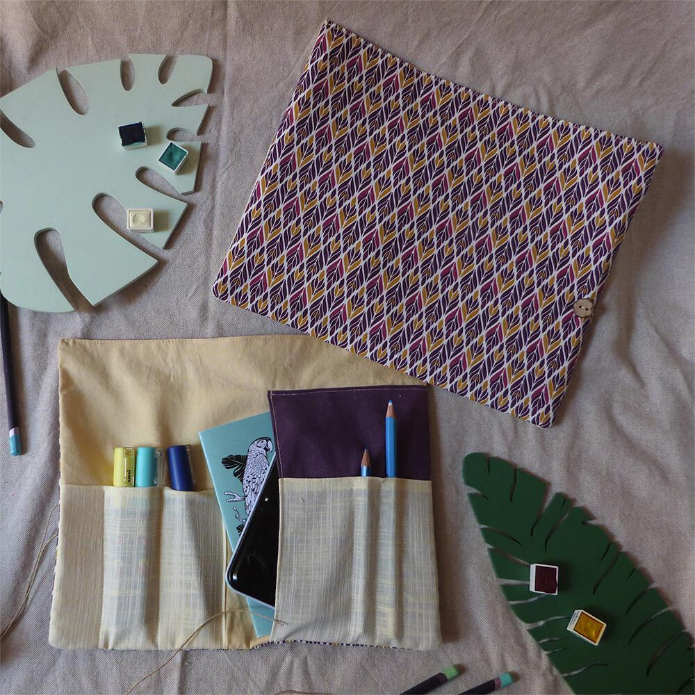 Pochette d'artiste A6 - Violet et Jaune