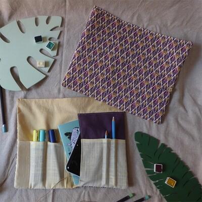 Pochette d'artiste A6 - Violet et Jaune, 2 pièces