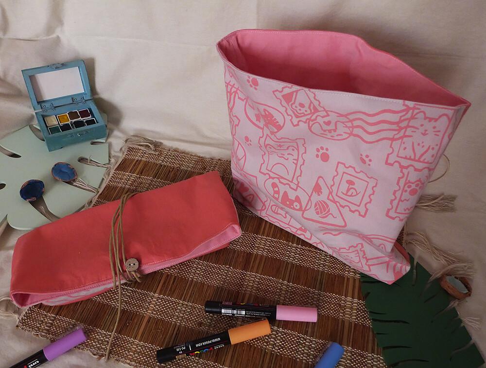 Pochette Sérigraphiée - Chats Timbrés, rose