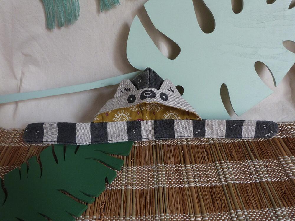 "Lemur Scoodie - 5-6"" - Tissu lin/linen fabric, hand screen printed"