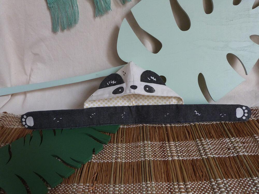 """Panda Scoodie - 5-6"""" - tissu crème/cream fabric, hand screen printed"""