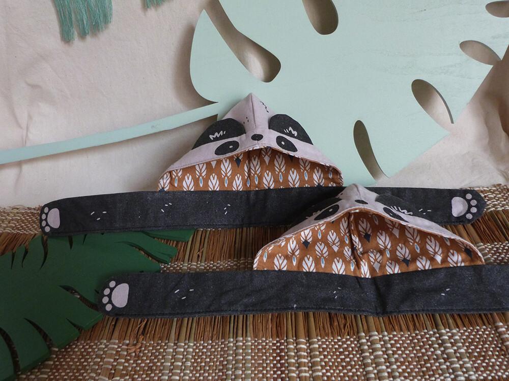 "Panda Scoodie - 5-6"" - tissu beige/beige fabric, hand screen printed"