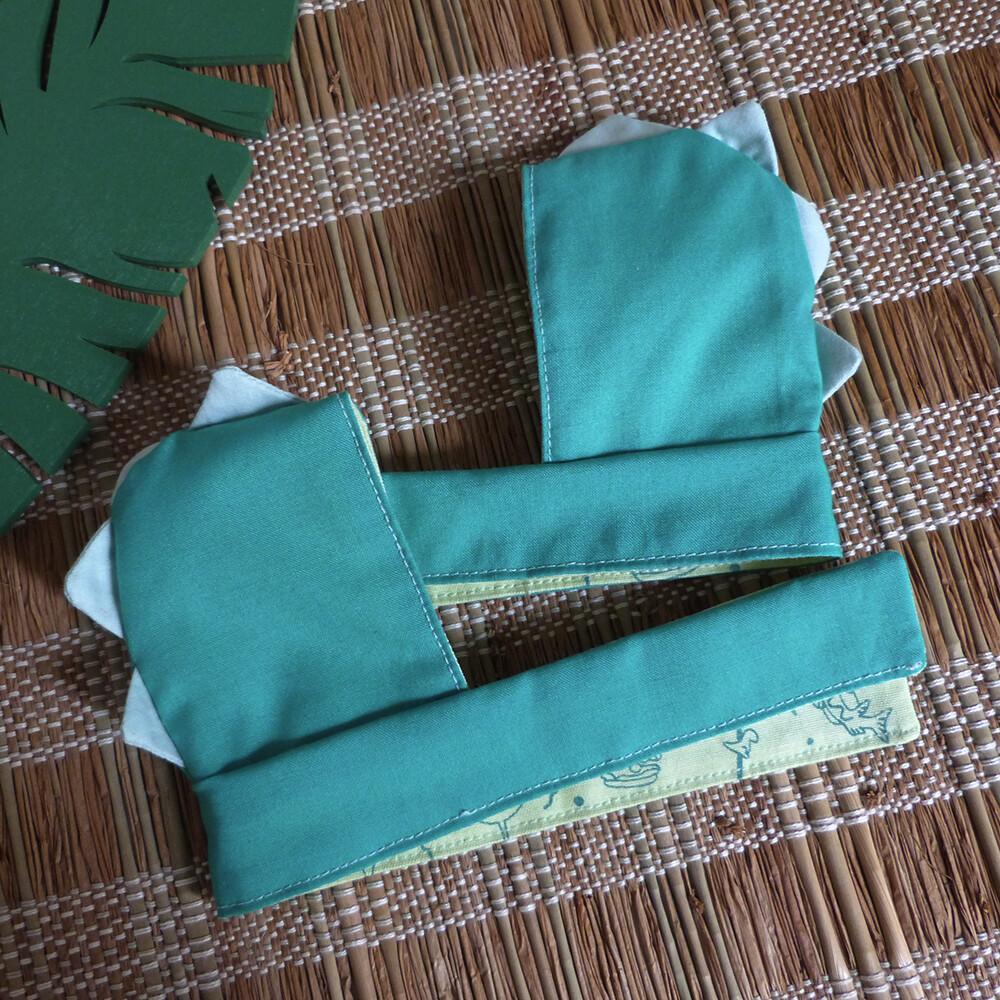 "Dino Scoodie bleu vert/green blue - 5-6"" - Hand screen printed"