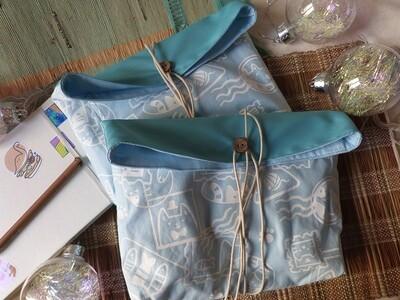 Pochette Sérigraphiée - Chats Timbrés, bleue
