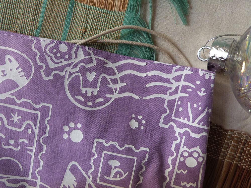 Pochette Sérigraphiée DÉFAUTS - Chats Timbrés, violette