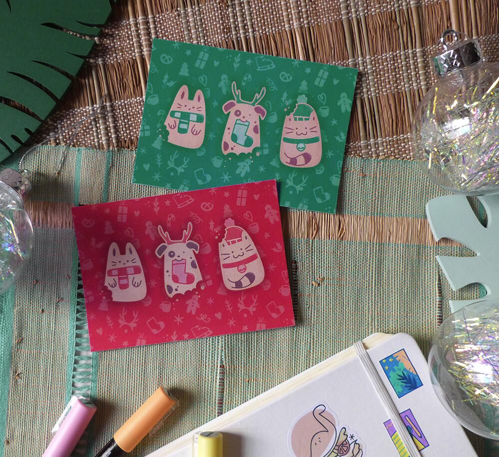 Carte de voeux Noël 🎄 Animaux biscuits, couleur