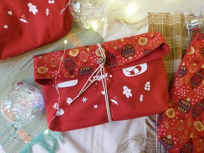 Pochette Sérigraphiée ROUGE 🎄 Animaux Biscuits
