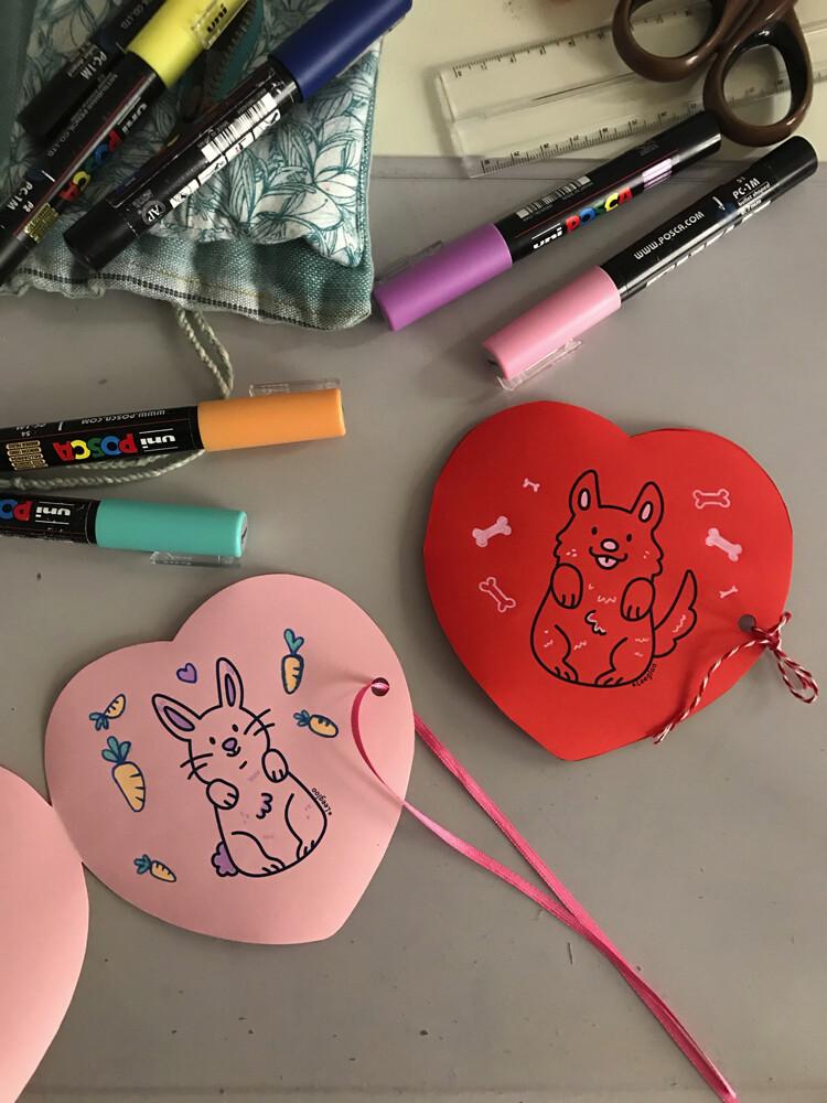 Coloriage gratuit - Carte de St Valentin